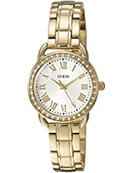 GUESS Womens U0837L2 Dressy Gold-Tone Watch with White Dial , Crystal-Accented Bezel and Stainless Steel Pilot...