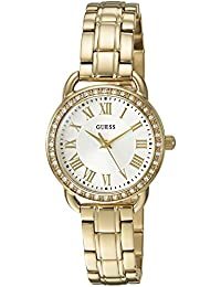 Womens U0837L2 Dressy Gold-Tone Watch with White Dial, Crystal-Accented Bezel and