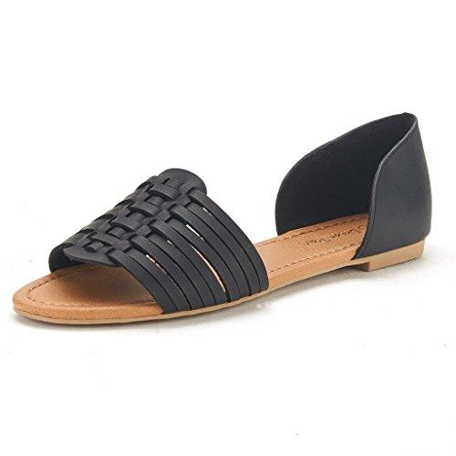 DREAM PAIRS RITAA Women's Gladiator Easy Slip On Open Narrow Toe Flat Summer Sandals BLACK SIZE 7