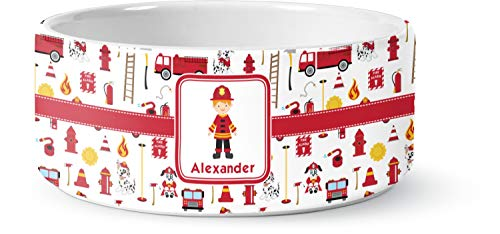 RNK Shops Firefighter for Kids Ceramic Pet Bowl - Medium (Personalized)