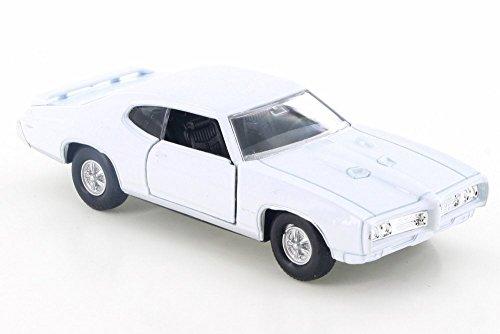 "Welly 1969 Pontiac GTO, White 43714D - 4.5"" Diecast Model Toy Car but NO BOX"