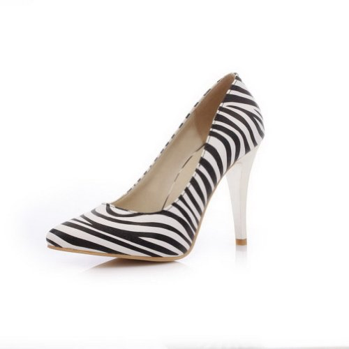 VogueZone009 Womens Closed Pointed Toe High Heel PU Strips Pumps White mCiX1K