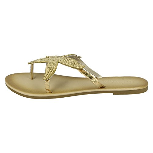 Ladies Sandals Post Beaded Toe Gold Starfish Savannah 1w0Zx4