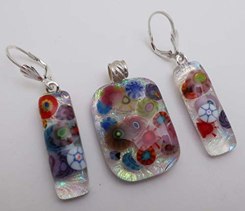 3 pc multi-color floral garden fused dichroic glass pendant earrings set Sterling silver leverbacks