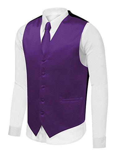 Azzurro Men's Dress Vest Set Neck Tie, Hanky