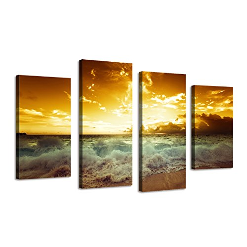 BIL-YOPIN 4 Panels Large Framed Canvas Printing Beach Sunset Modern Wall Giclee Art for Home Decor