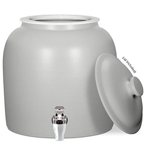 Brio Matte Colored Porcelain Ceramic Water Dispenser Crock with Faucet - LEAD FREE (Matte Grey) (Matte Porcelain)