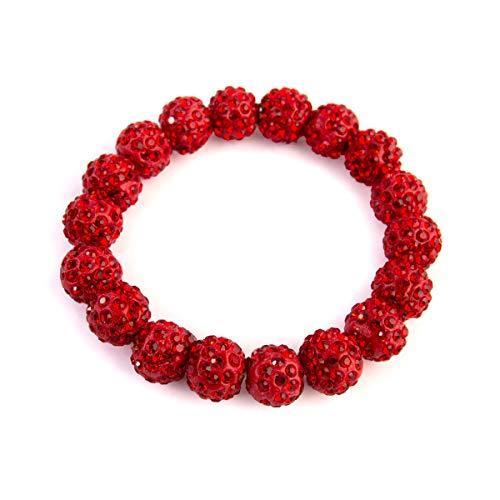 RIAH FASHION Shamballa Pave Bead Stretch Bracelets - Acrylic Crystal Embellished Ball Strand Bangles (Red) ()