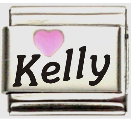 - Kelly Pink Heart Laser Name Italian Charm Link