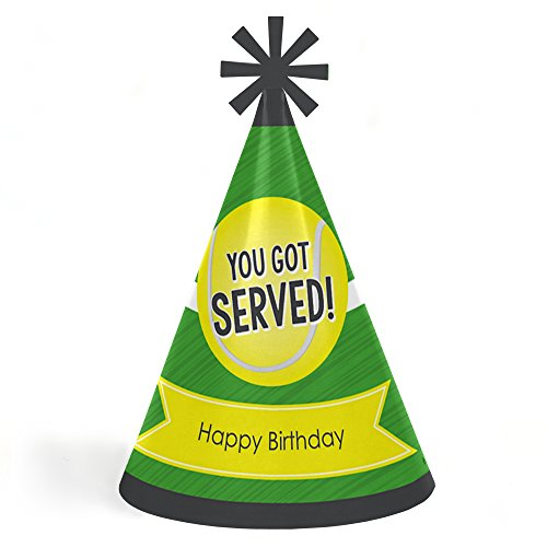 You Got Served - Tennis - Cone Tennis Ball Happy Birthday Party Hats for Kids and Adults - Set of 8 (Standard Size)