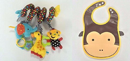 Baby Toys By Cuddly Wuddly - Spiral Activity Toy with FREE Baby Bibs And Burp Cloths Animal Bundle - Toy Spirals Around Baby Infant Car Seat, Baby Cot Or Baby Strollers - Add To Your Kids Toys Now