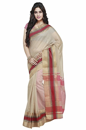 Janasya Women's Beige Handloom Weaved Cotton Saree