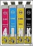 Premier Cartridges  4 (1 FULL SET) EPSON COMPATIBLE INK CARTRIDGES FOR EPSON PHOTO STYLUS S20, SX100, SX105, SX200, SX205, SX400, SX405, SX600FW, BX300F, S21, SX110, SX115, SX215, SX410, SX415, SX515W, SX209, SX405 WiFi,