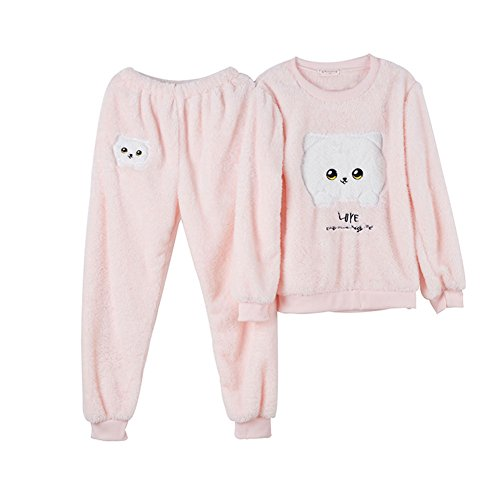 HaloVa Women's Pajamas, Cotton Flannel Winter Warm Round Collar Sleepwear Set Pink Large