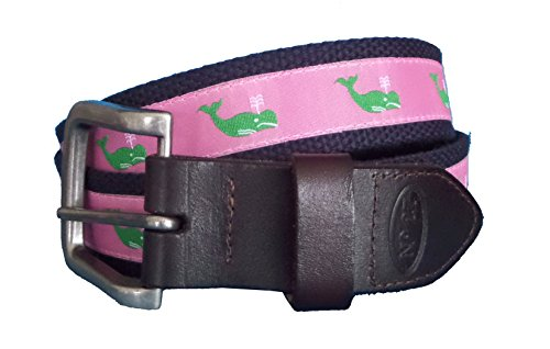 (No27 Men's Whale Leather Belt, Green Whale on Pink Ribbon with Navy Webbing Leather Tab and Buckle)