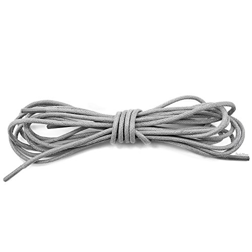 - DailyShoes Mens Round Waxed Shoelaces Oxford Flat Dress Canvas Shoe Laces, (Great for Leather Shoes), (1 PAIR), Gray, 60