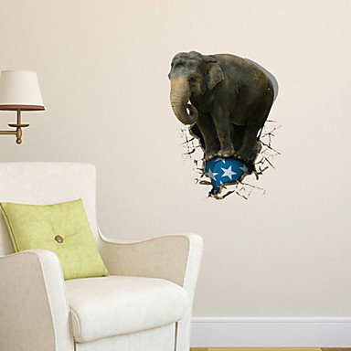 3d Wall Stickers Wall Decals Elephant Bathroom Decor Mural