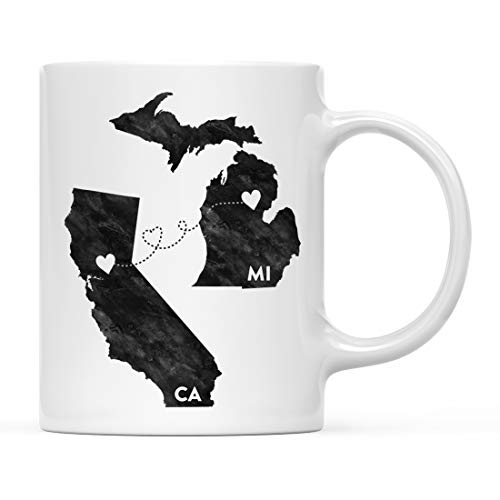 - Andaz Press 11oz. Coffee Mug Long Distance Gift, Michigan and California, Black and White Modern, 1-Pack, Moving Away Graduation University College Gifts for Him Her Relationships