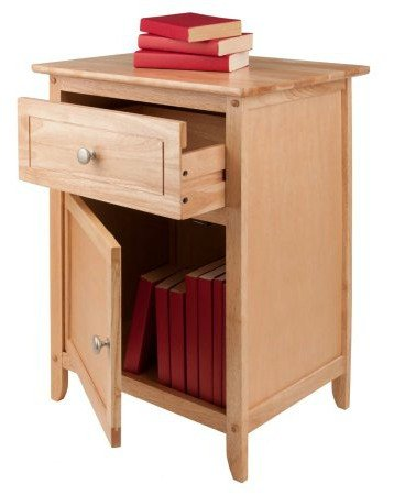 By Home Design End Table, Wood Nightstand - with Drawer and Cabinet, Color Unfinished