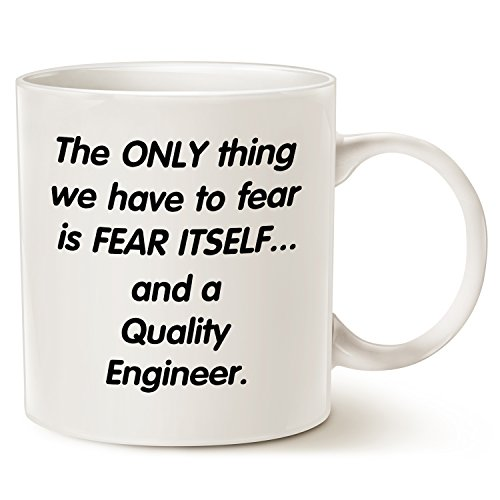 Funny Christmas Gifts Coffee Mug for Engineer, Fear Quality Engineer Coffee Cup White, 14 Oz by LaTazas