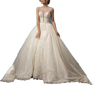 Tsbridal Detachable Skirt Wedding Dress Lace Mermaid Wedding Gowns