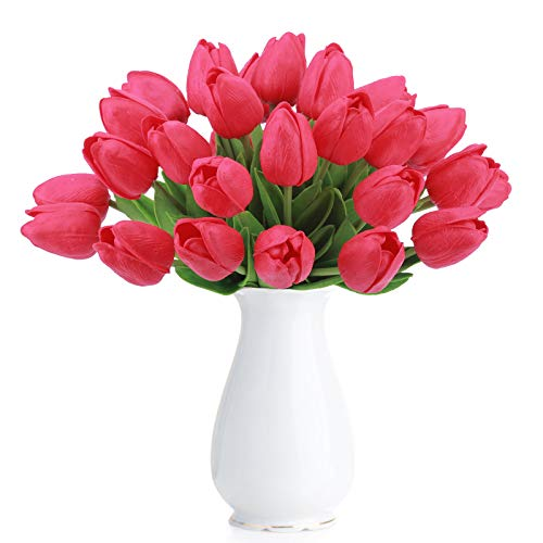 Bomarolan Artificial Tulip Fake Holland Mini Tulip Real Touch Flowers 24 Pcs for Wedding Decor DIY Home Party (Red)