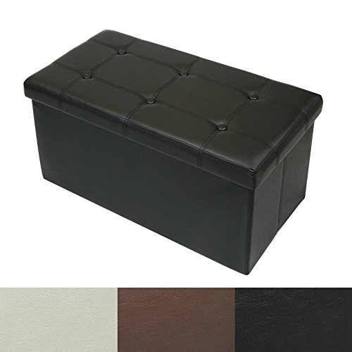 casa pura Ottoman Storage Bench | Classic-Design Upholstered Ottoman Coffee Table Foot Rest | Faux Leather - Black | 3 Sizes available - 30