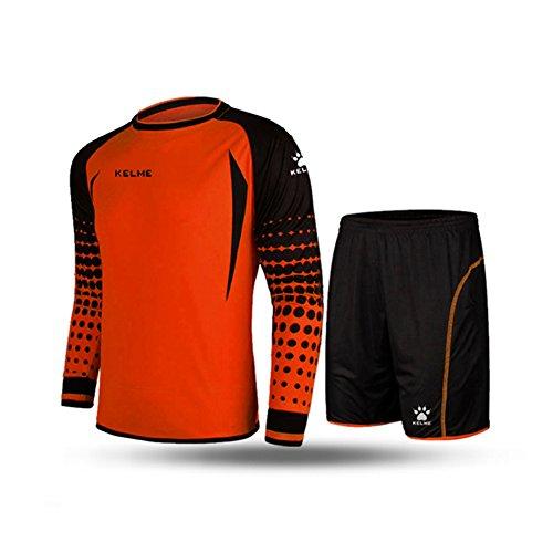 KELME Soccer Goalkeeper Long Sleeves Jersey & Shorts for Mens Kids (Orange, Medium)