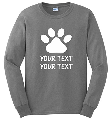 Personalized Dog T-Shirt Personalized Dog Cat Paw Your Custom Text Long Sleeve T-Shirt Medium SpGry (Personalized T-shirts Dog)