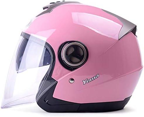 NJ ヘルメット- オートバイヘルメットメンズと女性ユニバーサルシーズンウォームアンチフォグハーフカバーヘルメット (色 : ピンク, サイズ さいず : 30x25x26cm)