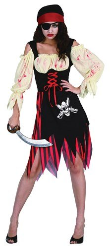 Wench Costumes Uk (Pirate Zombie Wench Ladies Fancy Dress Costume (US 8-10))