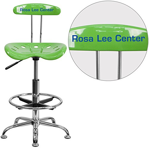 """Personalized Vibrant Spicy Lime And Drafting Stool With Tractor Seat Green/Chrome/20""""L x 17.25""""W x 41""""H"""