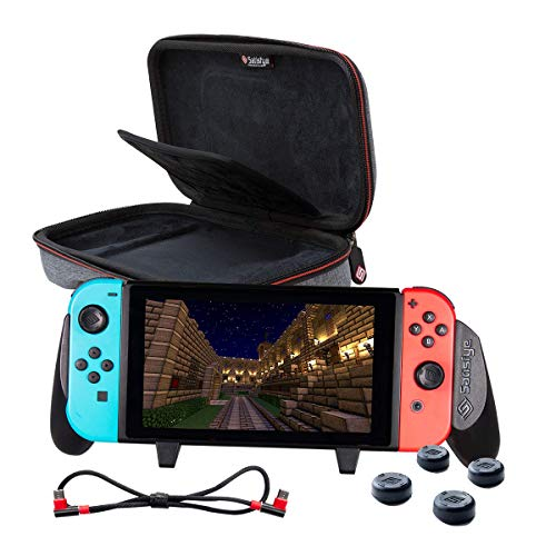 - Satisfye - Accessories Bundle Compatible with Nintendo Switch - Slim Bundle, The Slim Grip Case includes: Switch Grip, Slim Case and a Low Profile USB C Charging Cable. BONUS: 4 Thumbsticks