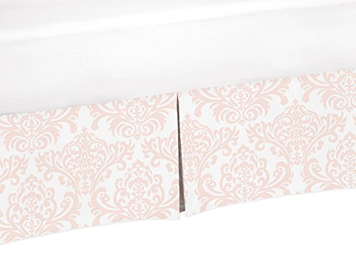 Sweet Jojo Designs Pink and White Damask Crib Bed Skirt Dust Ruffle for Girls Amelia Collection Baby Bedding Sets