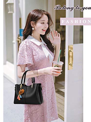 pelle lavoro da Studente Pu Borsa Shopper Top Tote in elegante donnaExull Shopping Handle nero Bag a tracolla Spalla 1366 Borsa HYe9IbEWD2