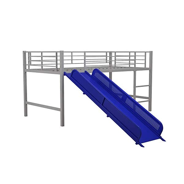 DHP Junior Twin Metal Loft Bed with Slide, Multifunctional Design, Silver with Blue Slide 3