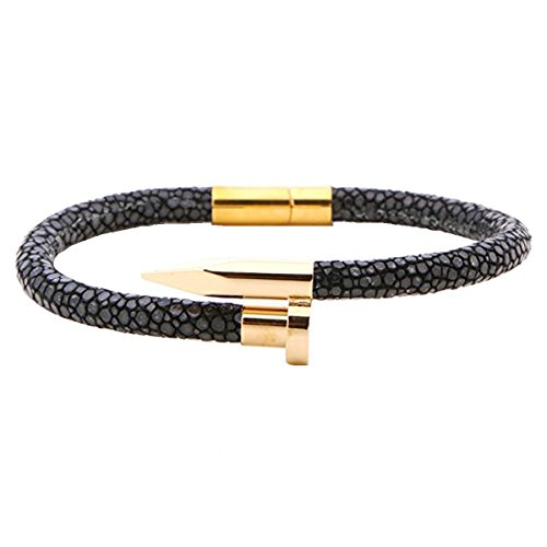 Viya Black stingray leather cord with high polished stainless steel nail bracelet (7 inches)