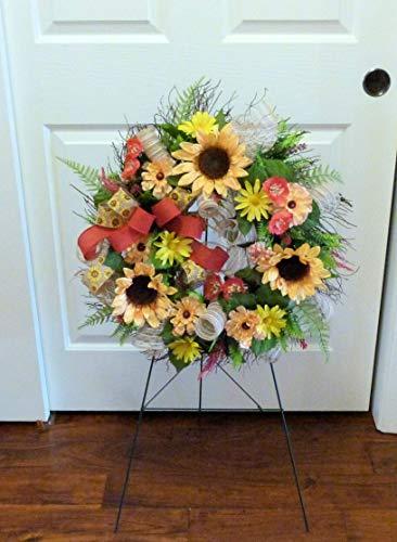 Cemetery-Wreath-Arrangement-Summer-Cemetery-Wreath-Deco-Mesh-Wreaths-Wreath-with-Sunflowers