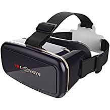 AOMK Virtual Reality Headset, 3D VR Glasses / VR Box, 3D Gaming Glasses - Magnetic Front Cover and Adjustable Focal / Pupil Distance for iPhone, Samsung, Andoid, IOS Phones Within 4 to 6 Inch