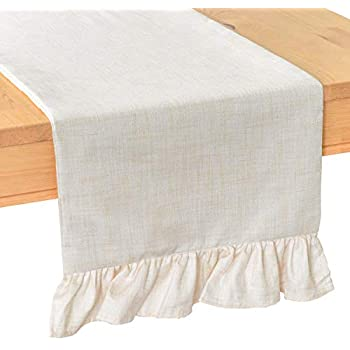 36 Ruffled Burlap Table Runner Country Chic With Cream Rosettes Kitchen Dining Bar Supplies Kitchen Dining Linens Textiles
