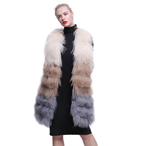 近代化する説教変えるURSFUR 冬季節 レディース ふわふわ リアルな モンゴル子羊ファー コート 毛皮 ベスト チョッキ 多色