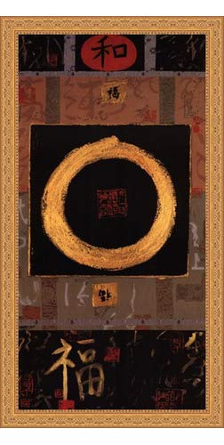 Framed Asian Tranquility- 18x36 Inches - Art Print (Ornate Gold Frame)