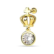 Sparkle Cross Crown Gold-Tone Anodized Steel Cartilage Tragus Stud Earring