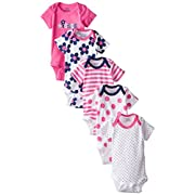 Gerber Baby-Girls 5 Pack Onesies, Flowers, 0-3 Months