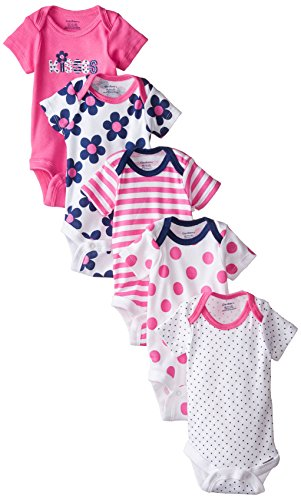 Gerber Baby-Girls Variety Onesies Brand Bodysuits, Flowers, Newborn (Pack of 5)