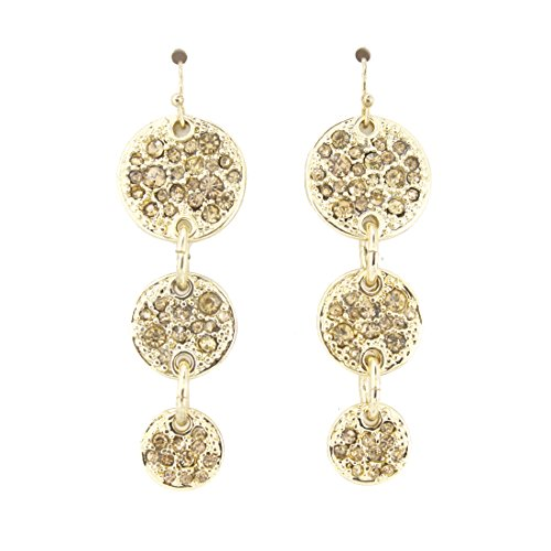 Triple Swarovski Earrings - Gold-tone Triple Crystal Round Plate Dangle Drop Earrings