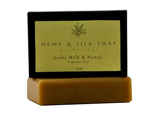 Goats Milk Hemp (Hemp and Silk Soap Natural Handcrafted Goats Milk Bar Soap Unscented 4oz)