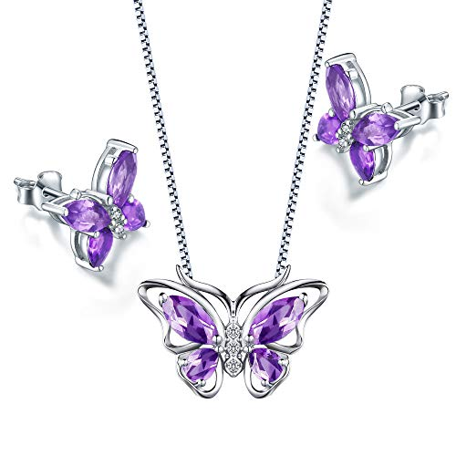 - Aurora Tears Purple Butterfly Jewelry Sets Women Crystal Animal Pendant/Earrings Sets Girls Cute Butterflies Necklace/Studs Sets for Engagement/Wedding/Dating/Party Gift DS0035W