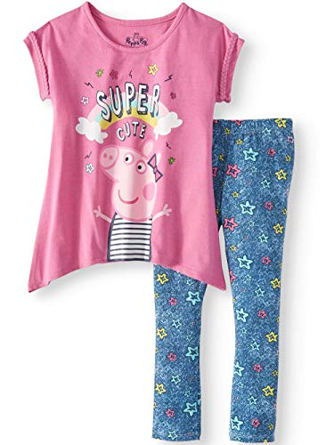 Peppa Pig Girls Long Sleeve Shirt Legging Pant Toddler Outfit 2pc (4)