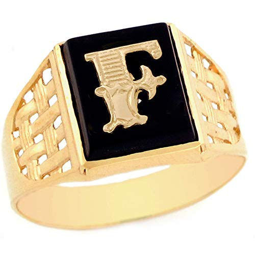 14k Yellow Gold Bold Black Onyx Mens Elegant Basket Weave Initial Letter F Ring - Size 8